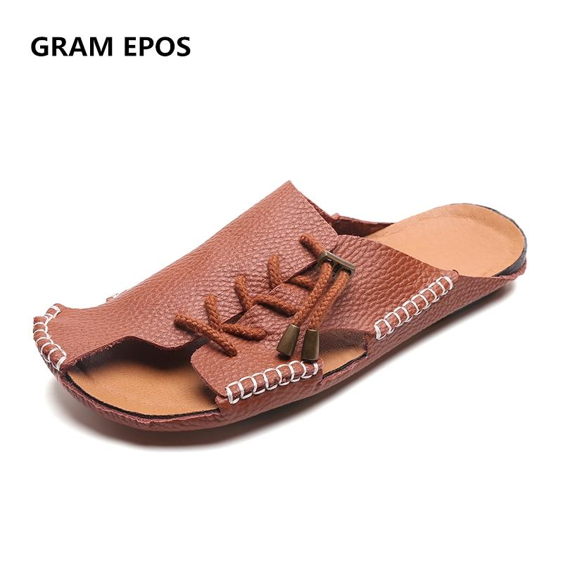 GRAM EPOS 2018 Men Genuine Leather Hand Woven Super Cool Beach Sandals Male  Slides Shoes Comfort Causal Men Summer Loafer Buy Shoes Online Wedge Boots  From ... 72f83e161bc9