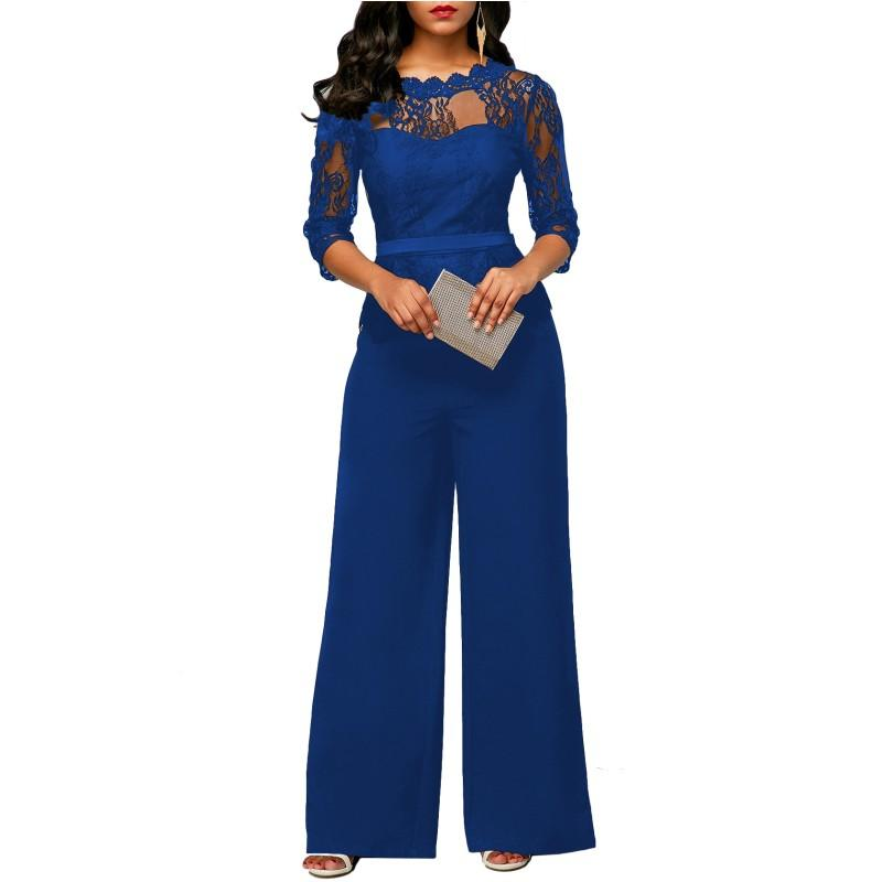 2f6c6ffd54504 Wholesale Sexy Fashion Lace Stitching Wide Leg Jumpsuits For Women 2018 Long  Sleeve Back Zipper Lace Jumpsuit Overalls Y2213 Jumpsuit Online with ...