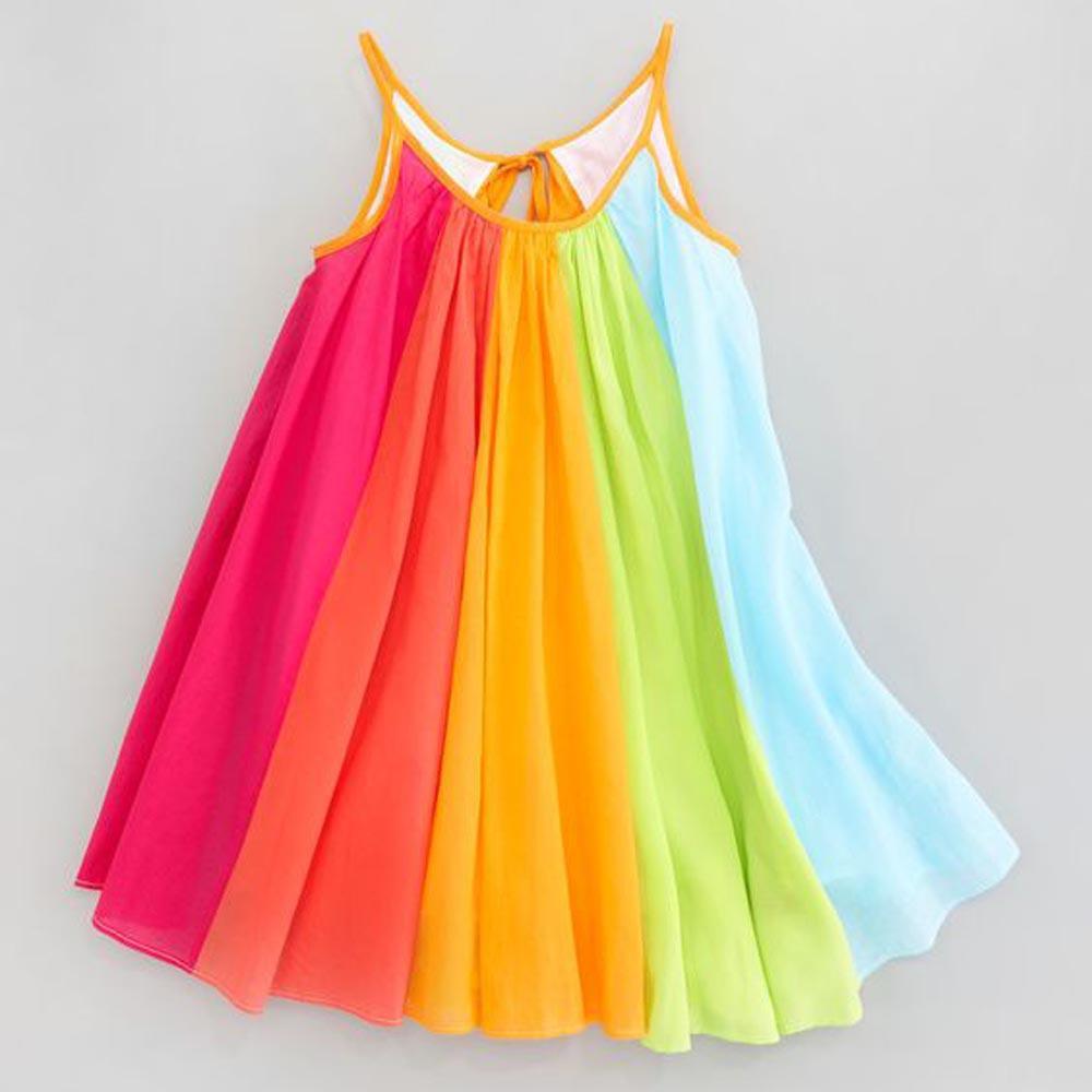 ca8bab3aa944 2019 Hot Sale New 2018 Toddler Kids Baby Girl Princess Clothes Sleeveless  Chiffon Tutu Rainbow Dresses Baby Dress Summer  15 From Entent