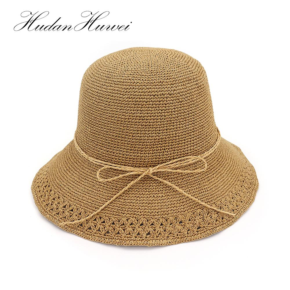8e289add085e3 Summer Boater Hats For Women Straw Sun Hat Lady Girls Hand Knitted Raffia  Beach Hat Floppy Female Travel Folding Chapeu CM020 Straw Hats Wedding Hats  From ...