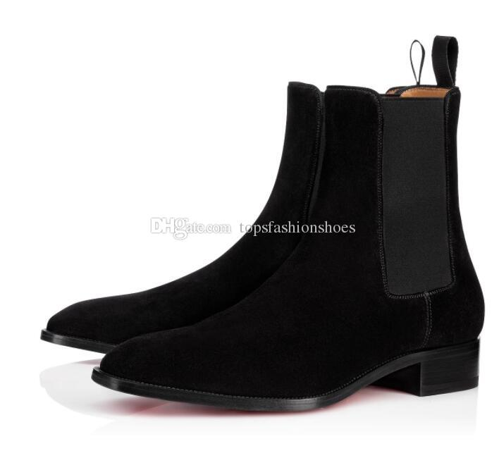 209720d5e74 Fall Winter Elegant Samson Leather Ankle Boot For Men Red Bottom Boots Man  Booties Walking Flats