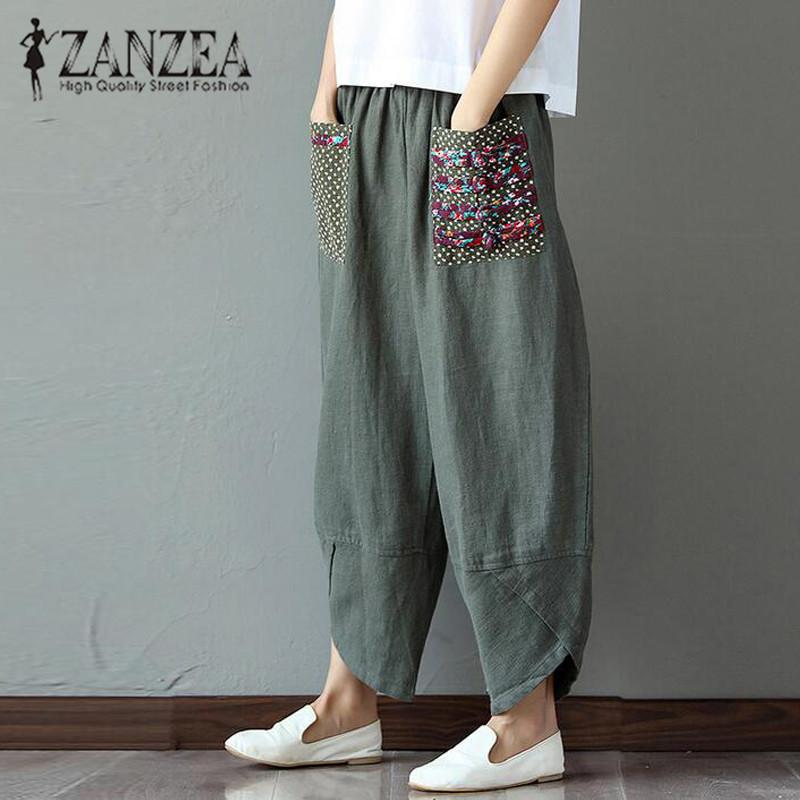8ba6303a93e 2019 Plus Size New ZANZEA Women Autumn Boho Cotton Linen Elastic Waist Long Trousers  Casual Loose Irregular Harem Pants Pantalon D1892606 From Yizhan05