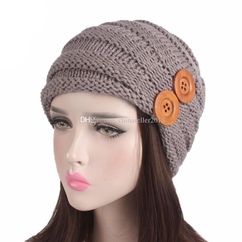 7698fc53aa6 Muslim Women Winter Ruffle Button Knit Wool Turban Hat Warm Knit Cap ...