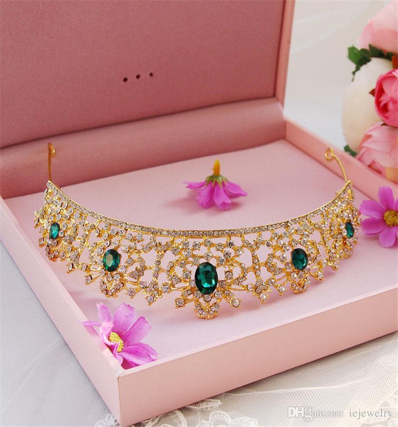 Vintage Wedding Bridal Red Tiara Crystal Crown Rhinestone Headband Green Hair Accessories Band Headpiece Jewelry Princess Prom Head Piece