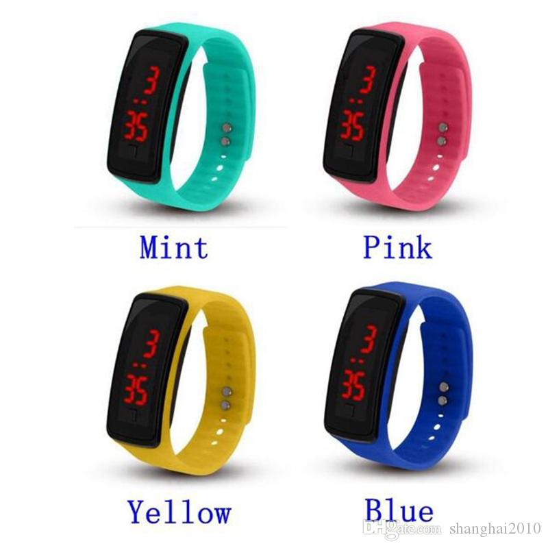wholesale New Fashion Sport LED Watches Candy Jelly men women Silicone Rubber Touch Screen Digital Watches Bracelet Wrist watch 100pcs