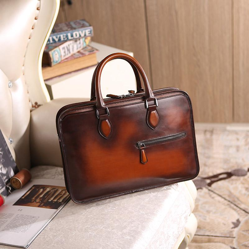 Newest Wholesale Price Men Business Briefcase Handmade Venezin Cow Leather  Handbag Shoulder Bag Italian Laptop Bag Dropshipping Briefcase For Men  Attache ... 67a722db5b
