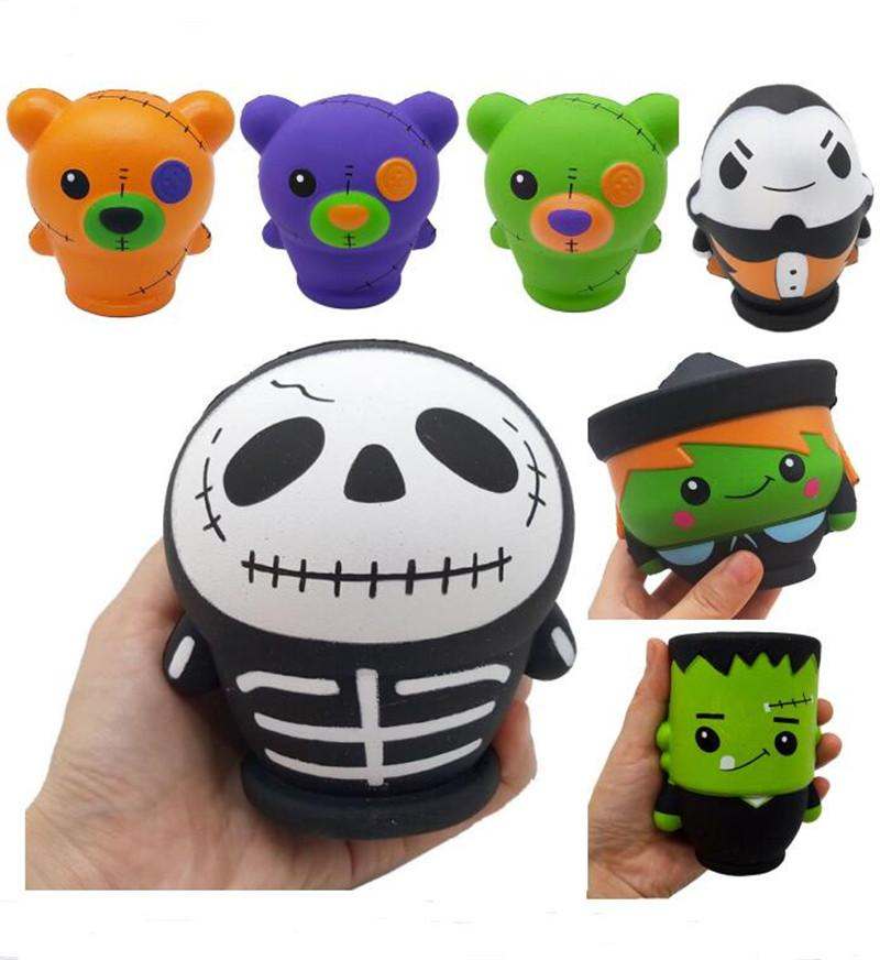 7 Styles Squishy Simulation Skull Witch Vampire Green Zombie Squishy Skull  Squeeze Toys PU Decompression Toy Novelty Items Charms toy NEW