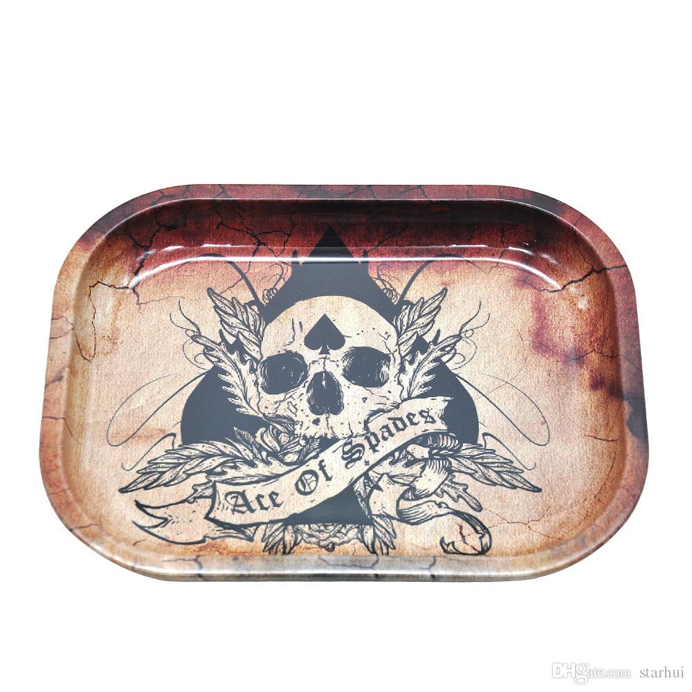 18*14cm Metal Fruit Tray Tray Tin Plate Case Mini Metal Machine Tobacco Rolling Tray Handroller Smoking Storage Case WX9-287