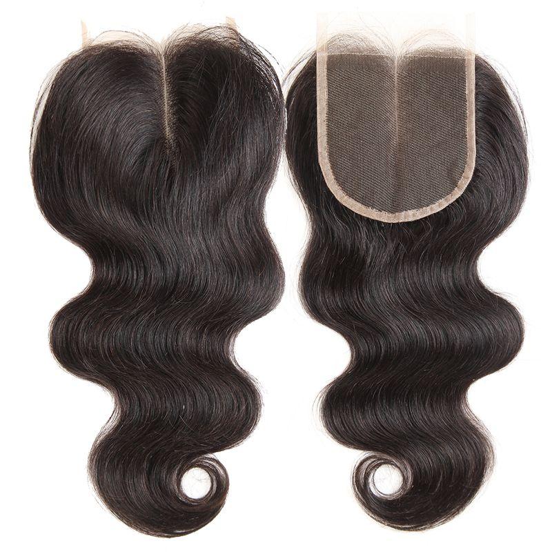 Toptan Brezilyalı Virgin İnsan Saç Atkı Kapatma Ile 3 Demetleri Vücut Dalga Düz Uzatma Ve 4x4 dantel kapatma 13x4 dantel frontal