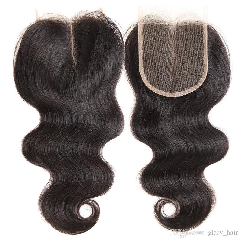 Trame di capelli umani vergini brasiliani all'ingrosso con chiusura 3 pacchi estensioni diritte dell'onda del corpo e chiusura in pizzo 4x4 frontale in pizzo 13x4