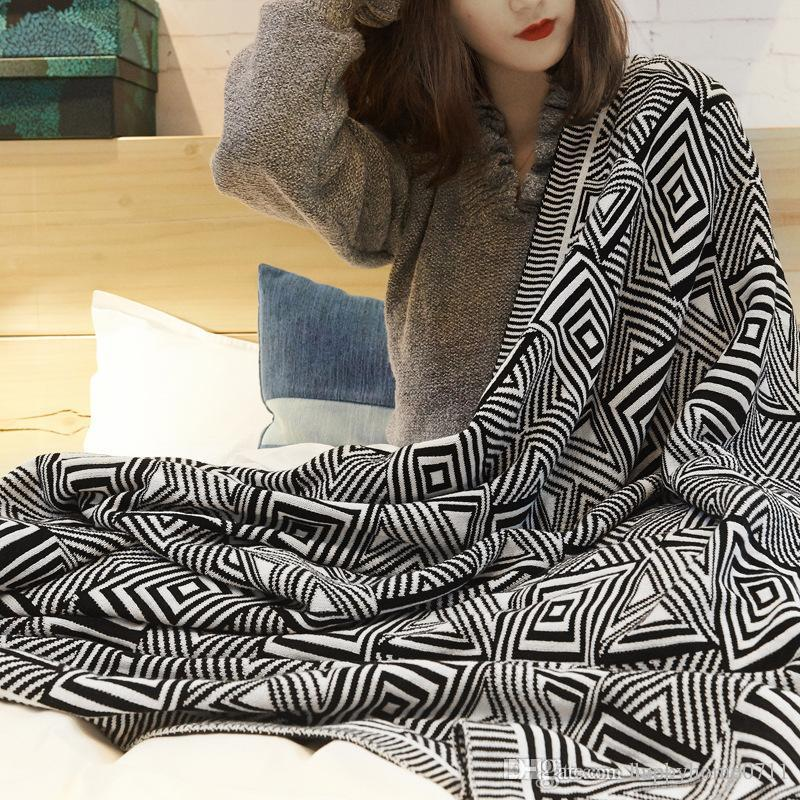 Geometric Plaid Stripe Pattern High Quality Soft Comfort Cotton Knit Blanket Shawl Travel Outdoor Blanket Shawl Gift