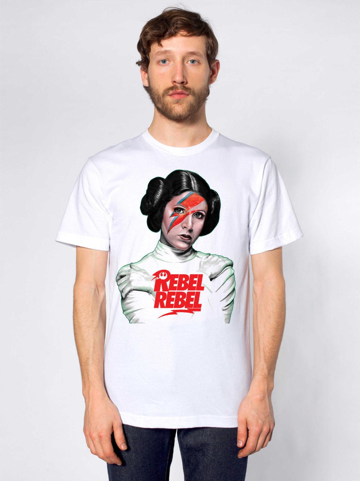 59ba0223462394 Princess Leia Rebel Rebel Tshirt David Bowie Wholesale Discount Carrie  Fisher Harajuku Tops Classic Unique T Shirt T Shirt Shop Online Crazy T  Shirt From ...