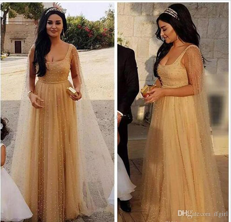 2018 Tulle A-Line Square Neck Arabic Evening Dresses Champagne Pearls Elegant Long Evening Gowns for Women with Caftan Party Dresses