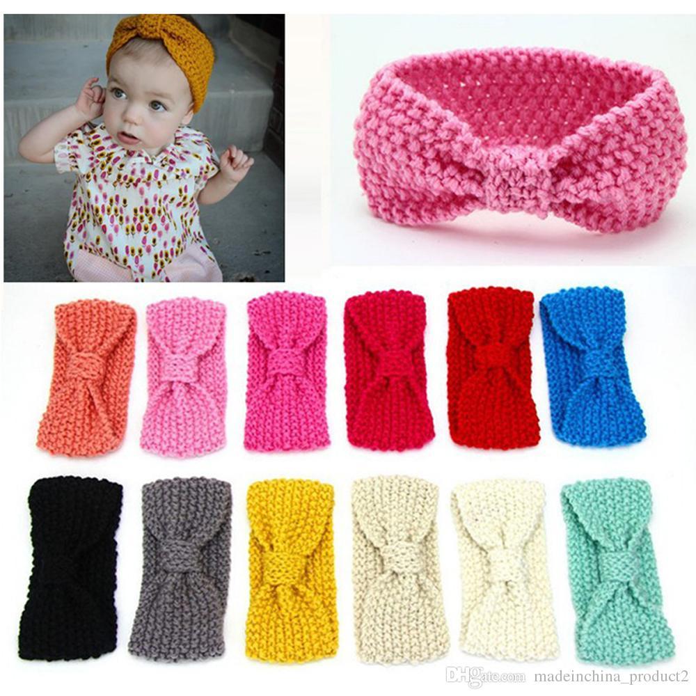 Girl's Accessories Cute Baby Girl Knitted Crochet Top Knot Headbands Elastic Turban Headband Infant Toddler Head Wrap Ears Warmer Headwear Girl's Hair Accessories