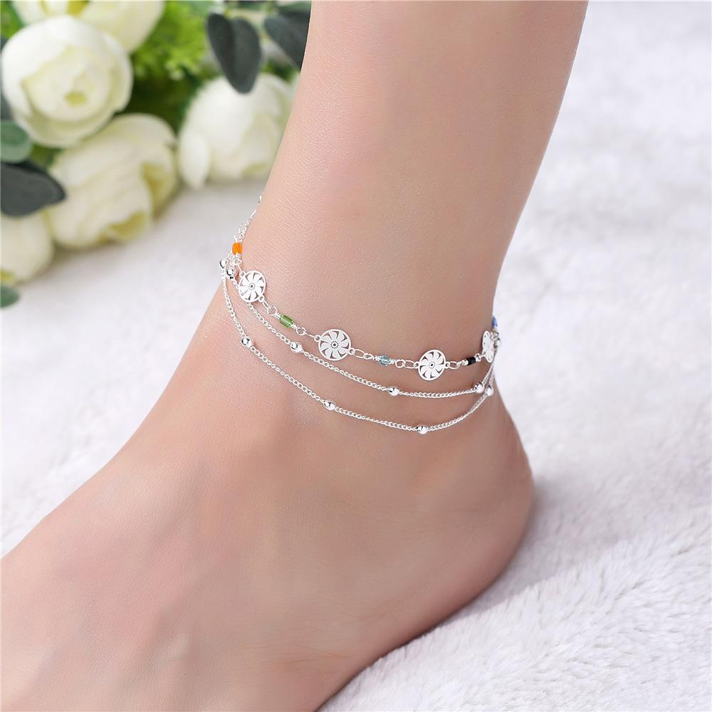 New Arrival Multilayer Chain Foot Ankel Bracelet Silver Color Barefoot Sandals Anklet Halhal Jewelry For Women Beach Enkelbandje