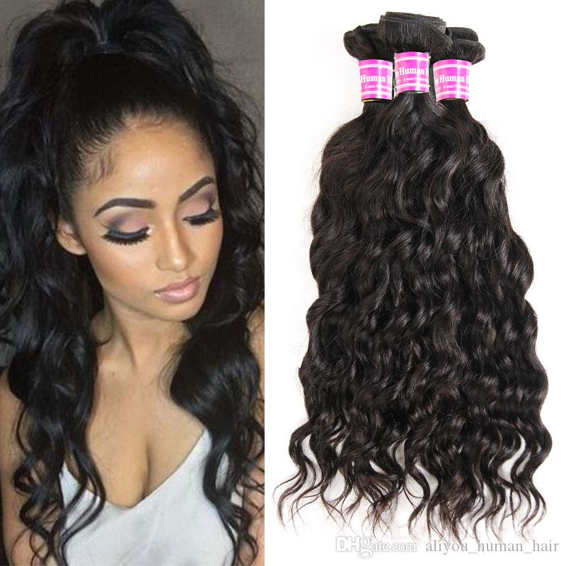 Top Selling Water Wave Hairstyles Unprocessed Mink Brazilian Water