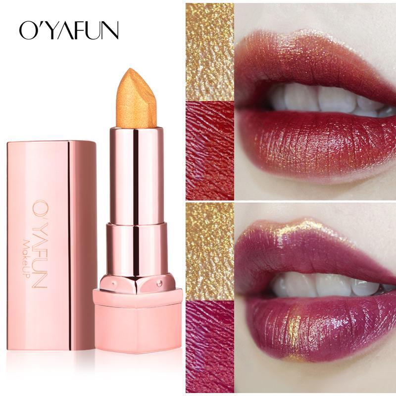 Oyafun Gold Obsession Shimmer Rose Lipstick Luxury Pure Creamy Batom