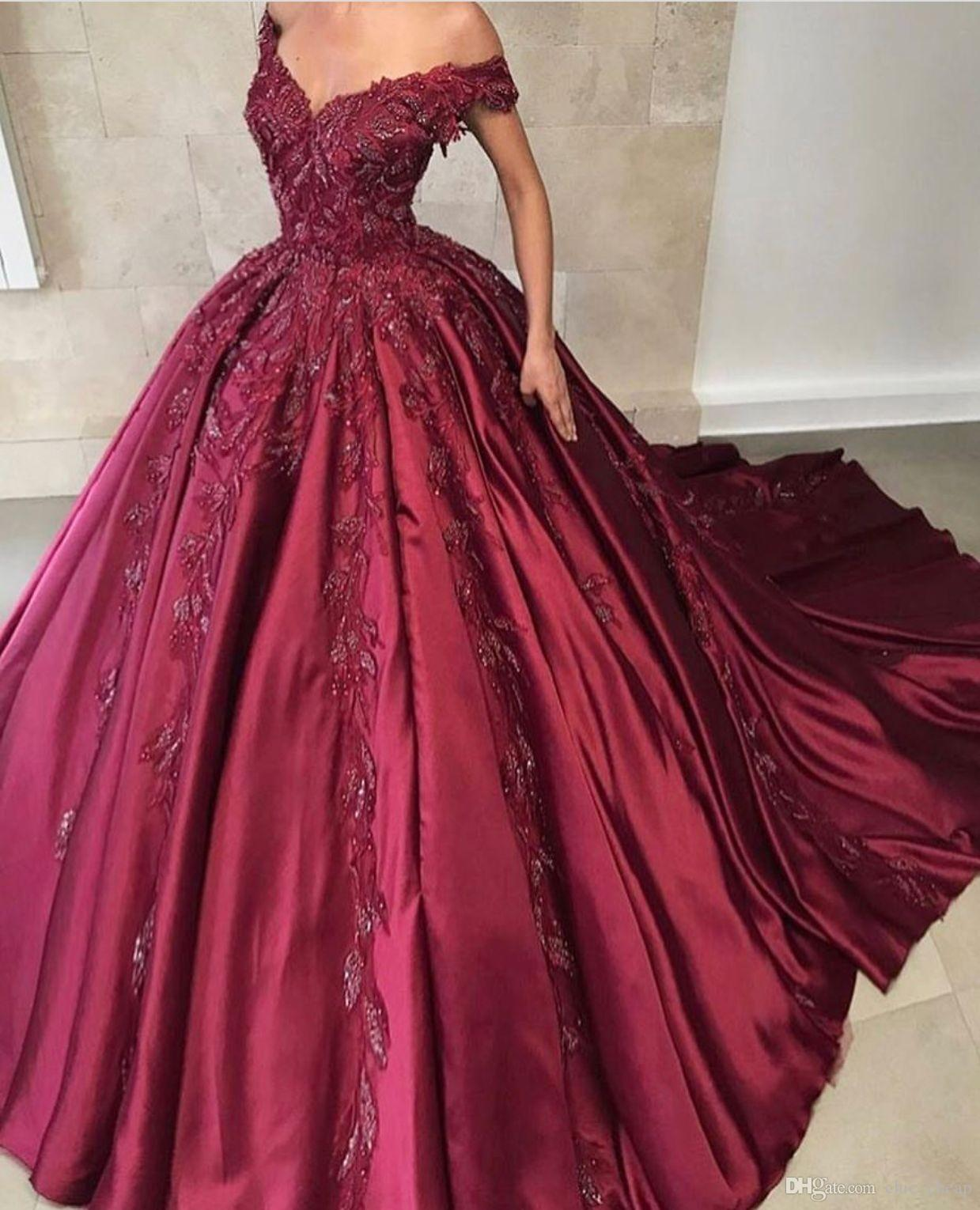 fa72689063d Off Shoulder Floor Length Ball Gown Stain Applique Sequins Elegant Quinceanera  Dresses 2018 Custom Made Vintage Prom Dresses Red Dress Flower Girl Dresses  ...