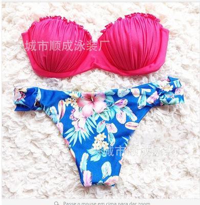4 Projetos Sexy Mulheres Biquínis Shell Forma Bra e Estampa Floral Shorts Meninas Moda Praia Verão Maiôs Mulheres Respirável Fatos De Banho Bonito