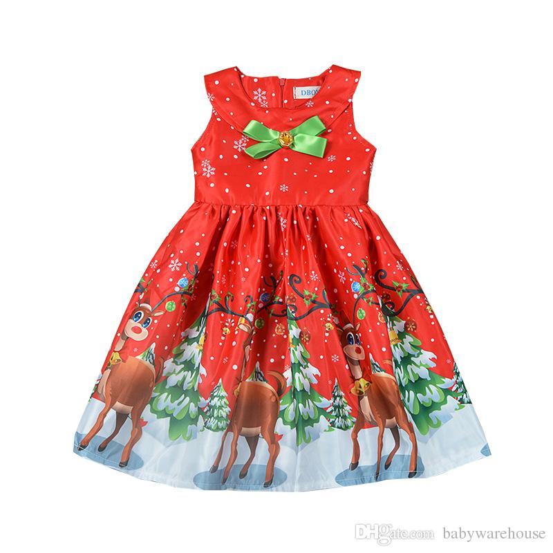 bc9c8c75b Compre Vestidos De Natal Para As Meninas Floral Veados Impressão Dress  Crianças Roupas Princesa Arco Vestido De Bebê Da Menina Da Criança Sem  Mangas Dress ...