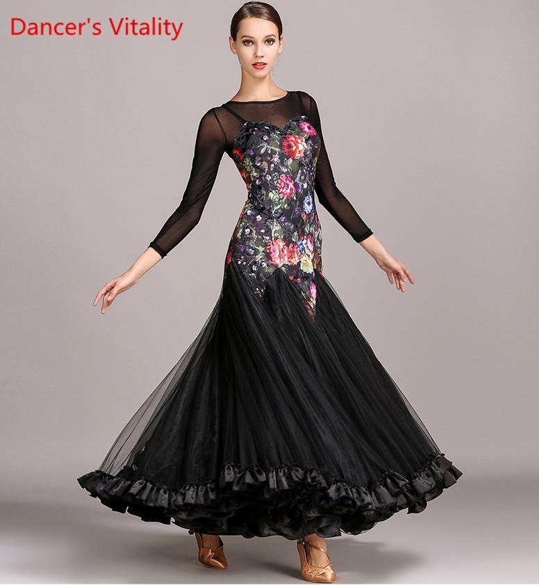 4e6aaff60 2017 nuevo vestido de baile vestido para mujeres alta Quaity Waltz Ballroom  Dance Dresses Lady impresión vestido