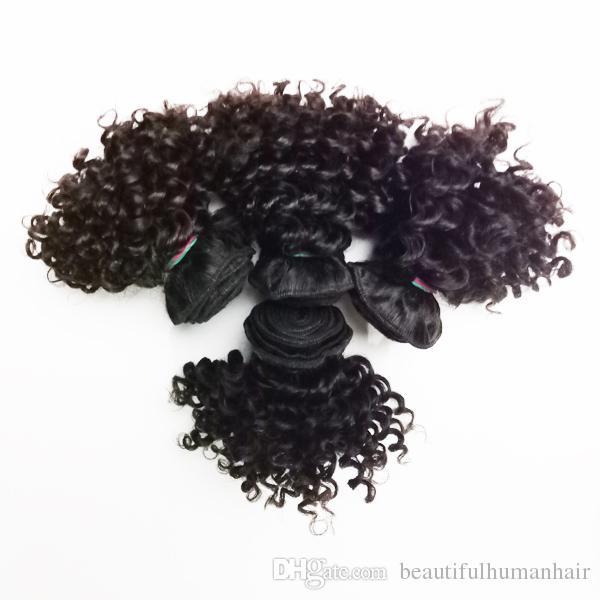 Brasilianische Jungfrau-Menschenhaar-Extensions 50g / pc reizvolle kurze Art 6inch 8inch verworrenes lockiges indisches remy Haar doppelter Einschlag / 100g /