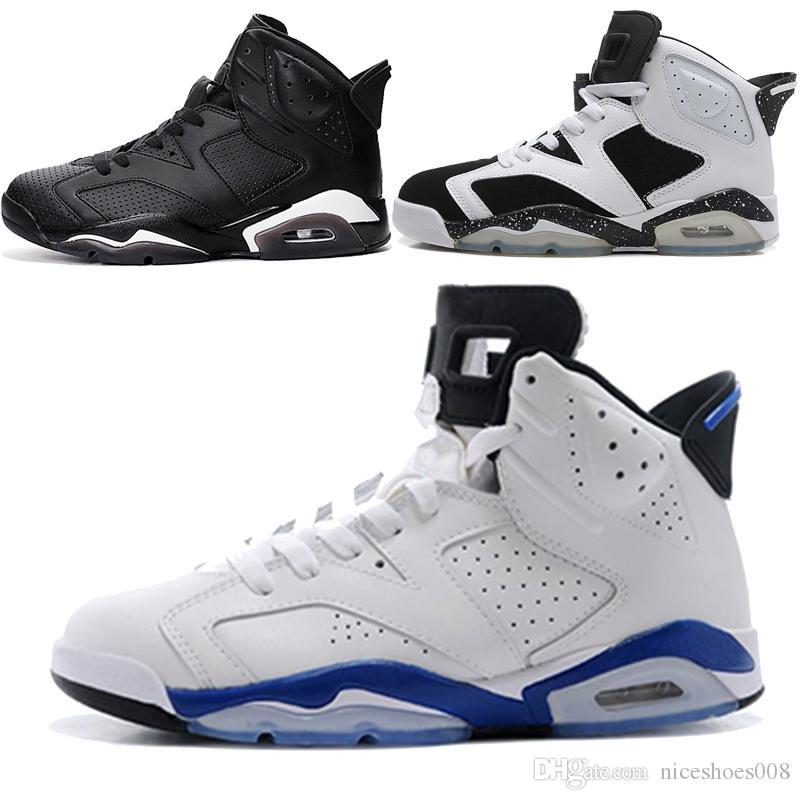 new arrival 18793 5d04a Acheter Nike Air Jordan Aj 6avec Boîte À Chaussures Carmin Basketball  Chaussures Classic 6s UNC Noir Bleu Blanc Infrarouge Faible Chrome Hommes  Sport Bleu ...