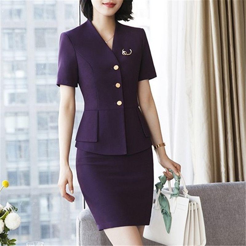 2019 New Elegant Women Jackets Suits Sprint Summer Office Ol Blazer   Skirt  Office Coat Jacket Plus Size 4xl Set From Donnatang240965 171e7dcb69c2