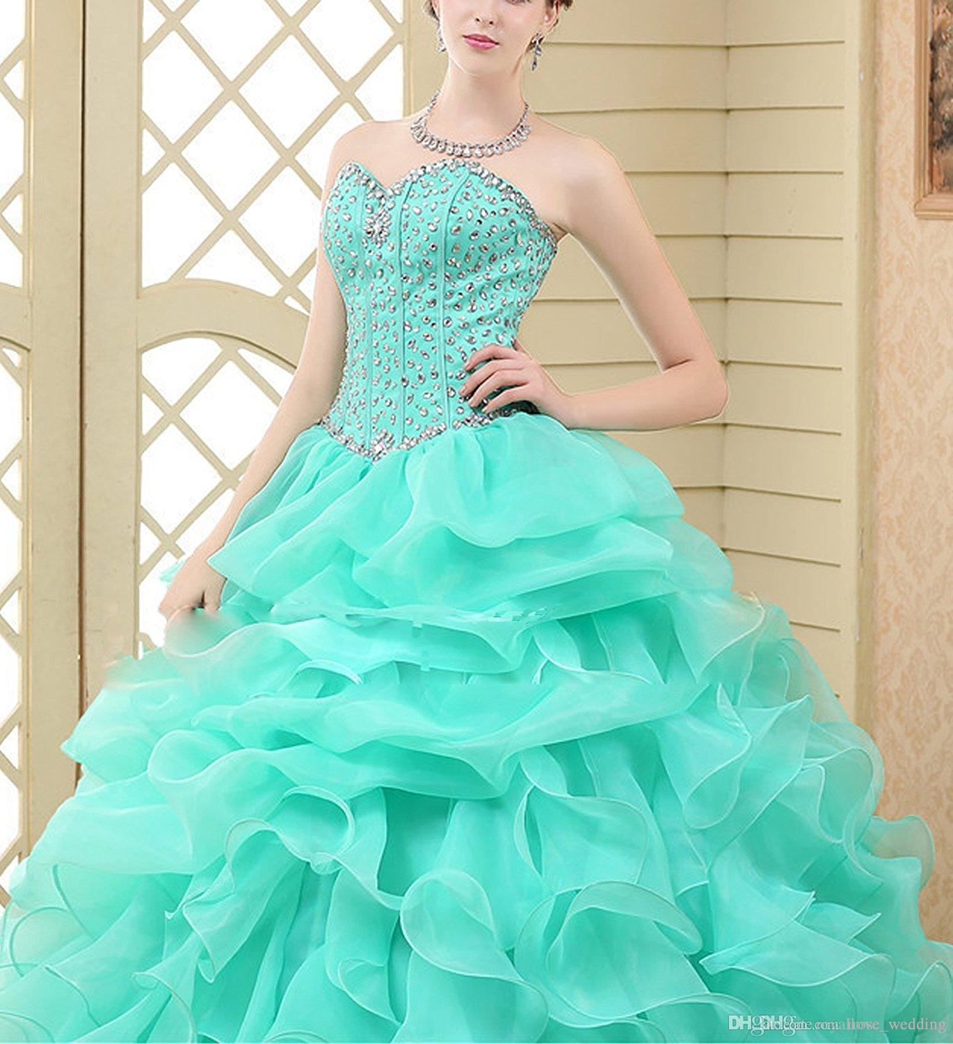 748b5da6b2e 2017 Elegant Mint Ball Gown Quinceanera Dresses Sweetheart Beaded Lace Up  Ruffles Floor Length Organza Girls Sweet 16 Dress Party Gowns Dresses Of  2015 ...