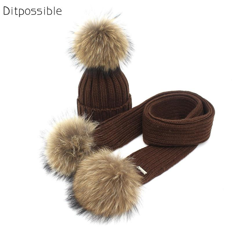 fa3ebb47f67cb Ditpossible Knitted Hat Scarf Set Kids Winter Real Fur Pompom Hats ...