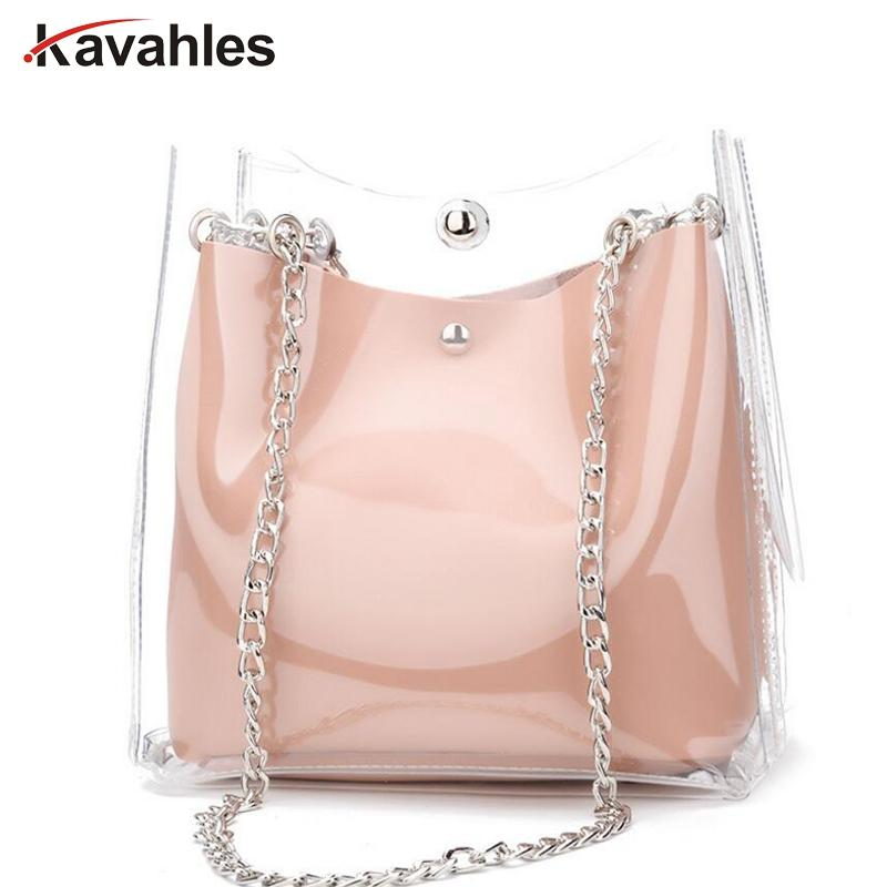 5bad96a5e153 Fashion Women Transparent Bag Clear PVC Small Tote Messenger Bags Laser Holographic  Shoulder Bag Female Lady Sac A Main LW-50 Top-Handle Bags Cheap ...