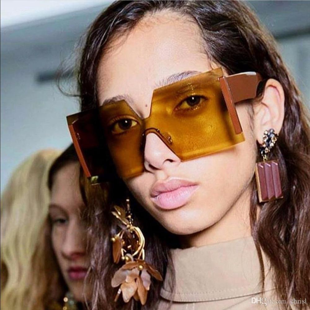 73243f559d48 Fashion Women Large Square Sunglasses Men Transparent Frame Vintage Retro  Sun Glasses Female Male UV400 Wholesale Big Square Sunglasses Women Fashion  ...
