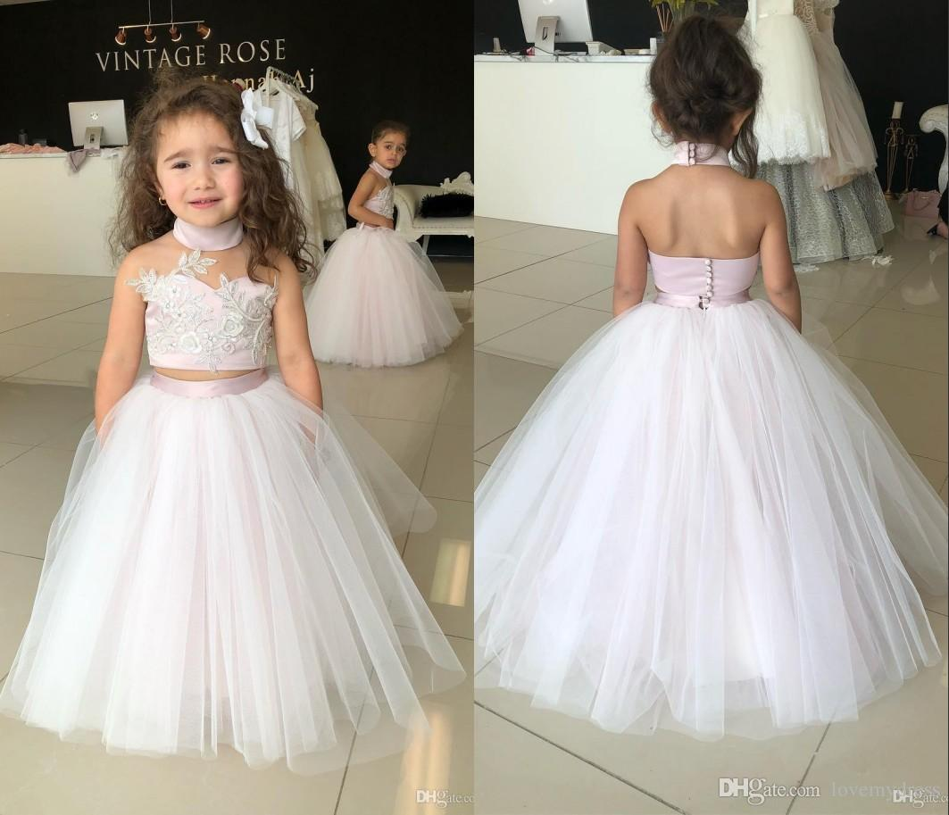 ac29a556b6 2018 Elegant Two Pieces Flower Girls Dress Cheap High Neck Tulle Princess  Designer Lace Applique Pleated Floor Length First Communion Dress Ball Gown  Flower ...