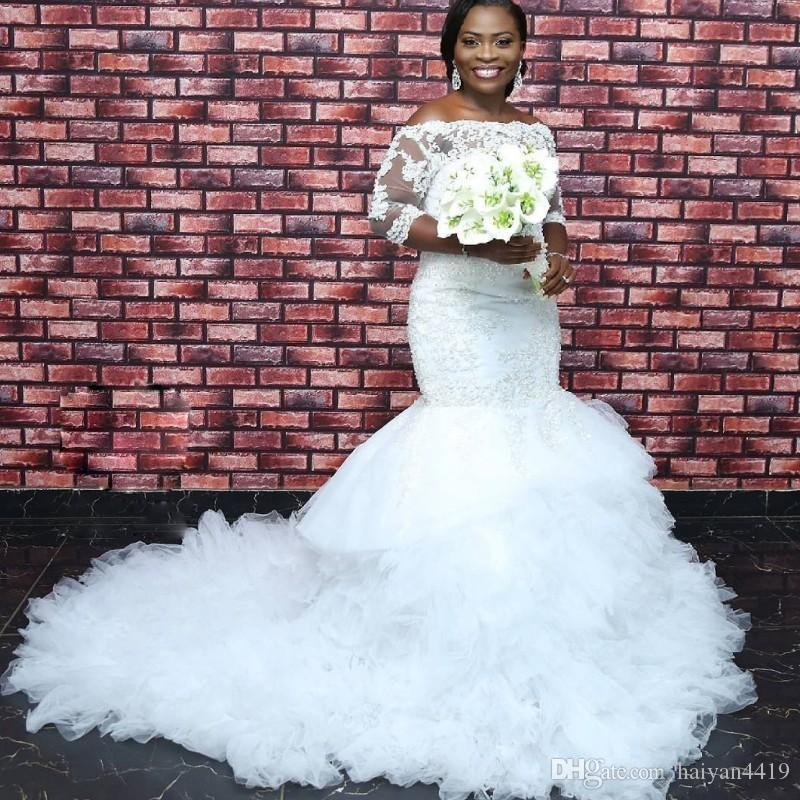 74b6e80cf7768 2019 New African Mermaid Wedding Dresses Off Shoulder Lace Appliques Beaded  Ruffles Tiered 3 4 Long Sleeves Plus Size Formal Bridal Gowns Bridal Dress  2015 ...
