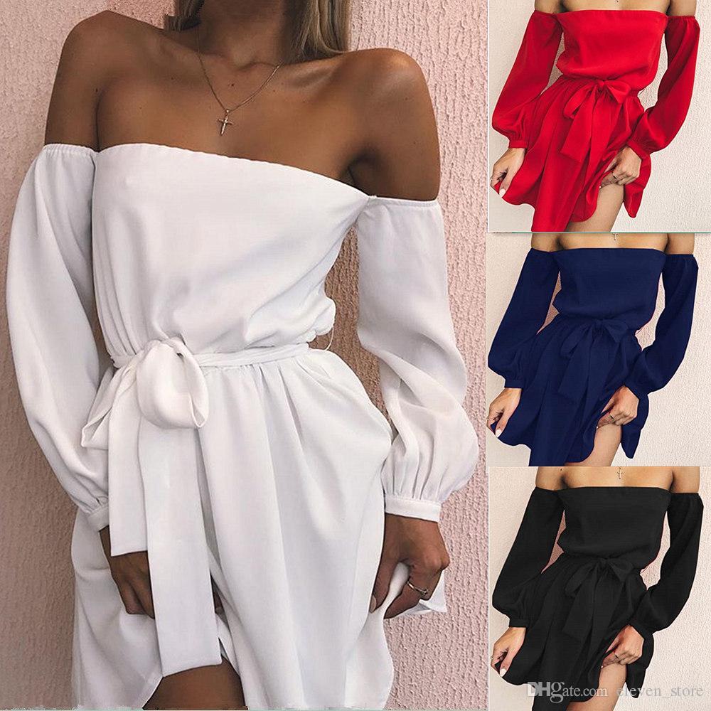 Off Shoulder Sexy Red Dress Women New Fashion Long Sleeve Casual Summer Dress Bow Sashes Elegant Short Chiffon Dresses DYDCD-17347