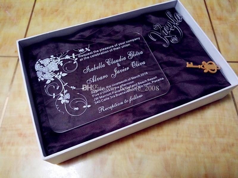 Individuell gestaltete Rose WeddingBirthday-Einladungen mit kostenlosen Umschlägen LED und weiße Box nicht enthalten L165mmxW114mmxT2mm BL-181005