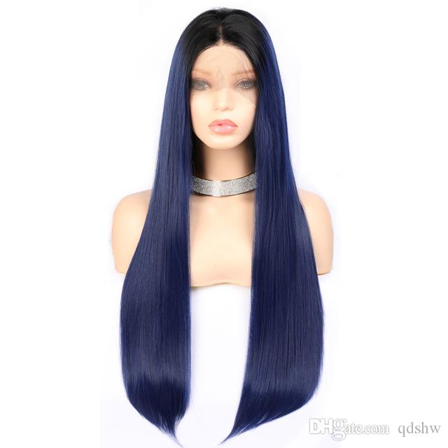 Blue Wig Synthetic Ombre Long Silky Straight 180 Heavy Density For Women  Dark Blue Ombre Synthetic Lace Front Wig Cheap Synthetic Hair Grey Hair Wigs  From ... 57d5965301
