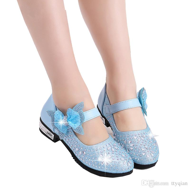 c90ede729d35 Big Teenagers Flower Children Girls High Heel Rhinestone Princess Party  Dance Shoes For Teens Girls Kids Wedding Dress Shoes 26 36 37 Baby Leather  Shoes ...