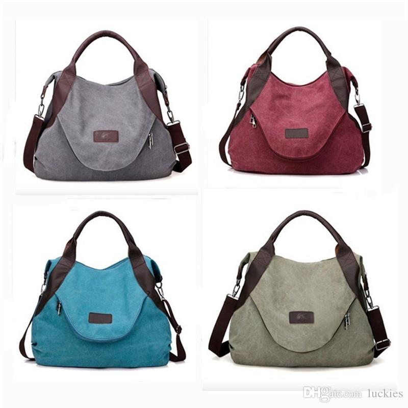 626c1ad6c5fdc Women Casual Canvas Top Handle Bag Large Shoulder Bag Fashion Women Multi  Pocket Cotton Canvas Handbags Totes Purses Messenger Shoppin Bags Rosetti  Handbags ...