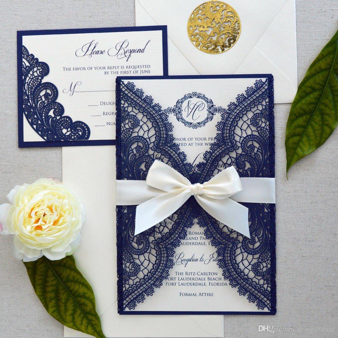 Diy Wedding Invitations Canada: Luxury Navy Blue Laser Cut Wedding Invitations With Bow