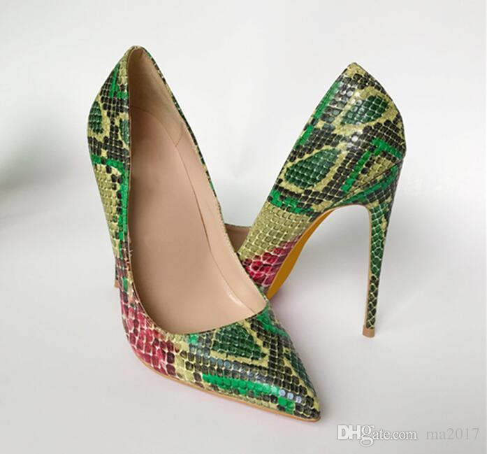 7302e839cf8c 12cm 10cm 8cm 2018 New Snake Printing Women Shoes Green High Heel ...