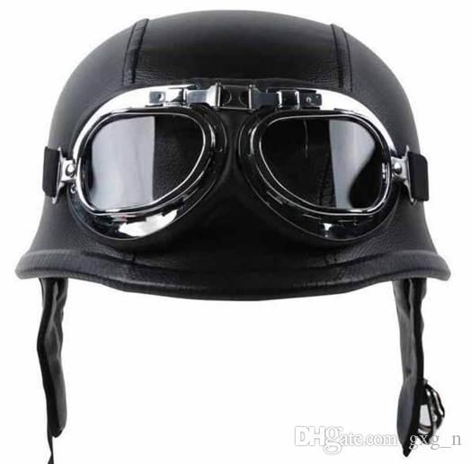 Compre WWII Estilo Alemão Capacete Da Motocicleta Do Vintage Com Óculos De  Couro Preto Esponja Metade Capacete + Óculos De Proteção Para Harley  Motociclista ... e7f200070e