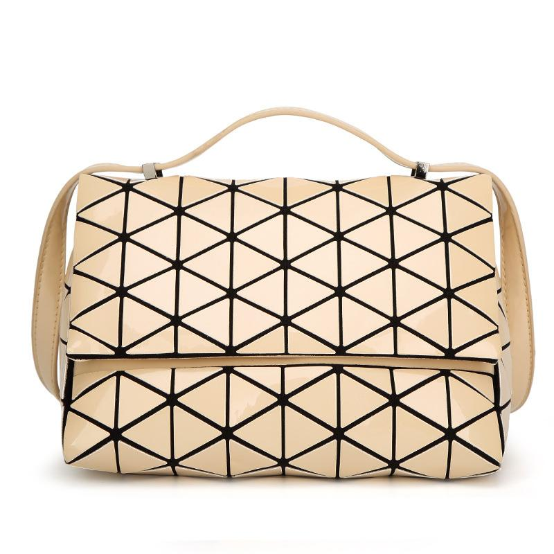 0657007d611c 2018 New Fashion Japan Style Laser Baobao Bag Geometric Fold Over Diamond  Luminous Women Brand Handbags Bag Bao Bao Issey Sac Black Leather Handbags  Cute ...