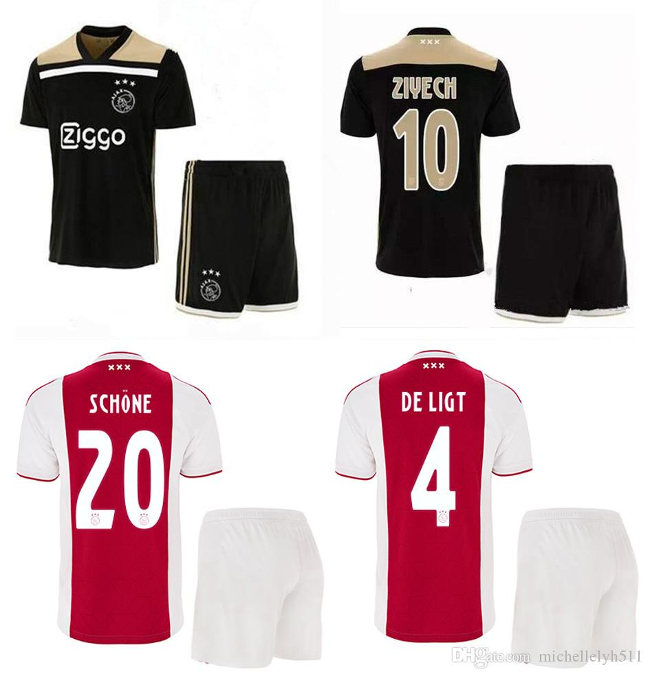 Compre 2018 2019 Kits De Fútbol Ajax De Calidad Tailandesa 18 19 ZIYECH  HUNTELAAR NOURI Schone Camisetas De Fútbol Pantalones Cortos Para Hombre  Juegos De ... 1d20d0f4f7d11