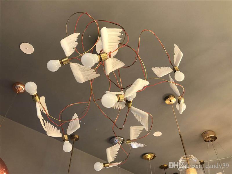 Home H005 Art Plafond Chambre Décor De Moderne Bureau Blanc Lighting Lampe Ange Coucher Led Mur À Ailes rxEdWBoeQC
