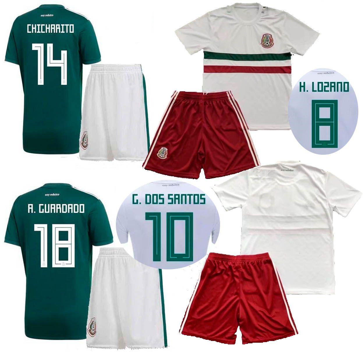 Compre 2018 CAMPEONATO DO MUNDO México Casa Fora Camisas De Futebol Shorts  CHICHARITO LOZANO DOS SANTOS HERRERA LAYUN Conjuntos De Futebol Nacional  Uniforme ... 3f66317f69f40