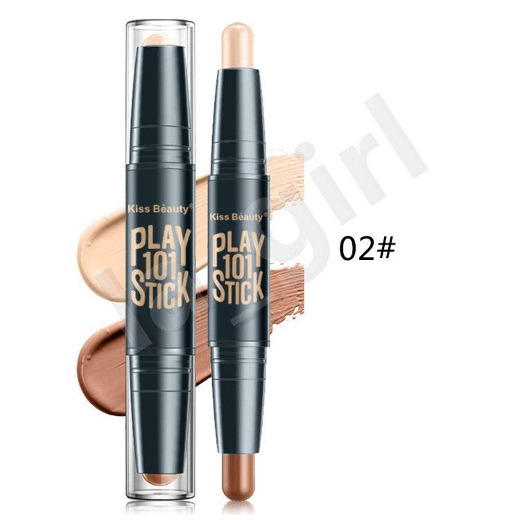 kiss beauty 3D Bronzer Highlighter Stick Multi effect Concealer Play 101 Stick Double Head Face body Makeup Concealer Pen Texture Contour F