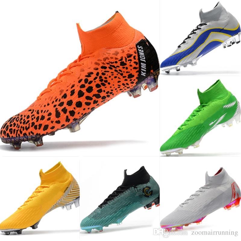 2018 Kids Soccer Shoes Mercurial CR7 Superfly VI FG Mens Football Boots Magista  Obra 2 Women Youth Soccer Cleats Cristiano Ronaldo Boys Black Running Shoes  ... 8bd365eb9
