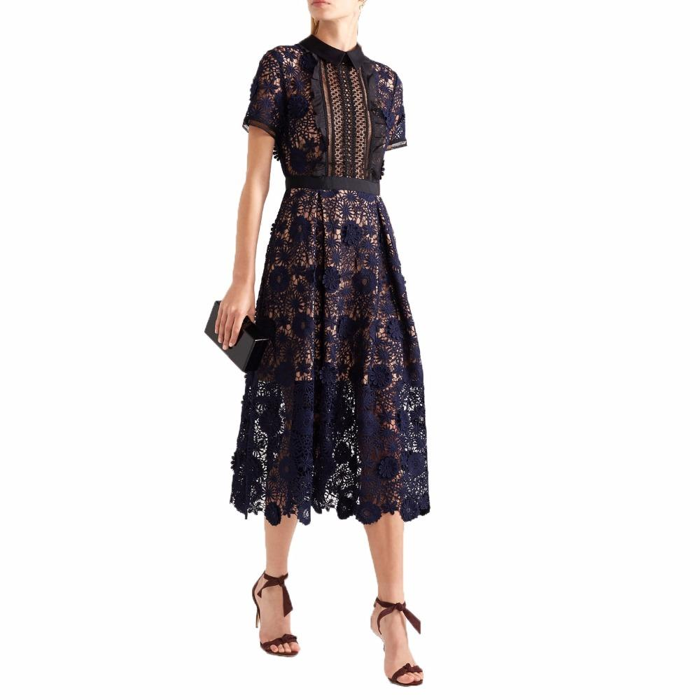 90640aa243862 2018 New Arrival Self Portrait Runway Women Hollow Out Patchwork Sexy Lace  dress Female Vestidos Short Sleeve Midi Dresses Y0905