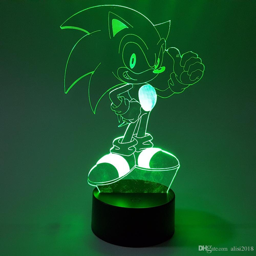 Di Sonic 3D Nightlight visiva Illusion LED RGB che cambia Sonic The Hedgehog figura di azione della luce della novità i regali di Natale